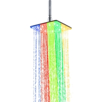 Multicolor fast flashing SS304 200mm Bathroom water power rectangle shower
