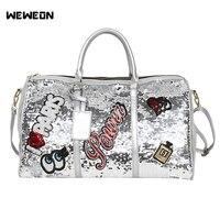 Women's Sliver Sequins Sport Gym Bag Soft PU Fitness Bag For Lady Designer Yoga Tote Perfume Embroidery Travel Handbag/Luggage