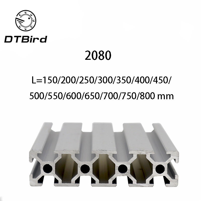 3D Printer Parts <font><b>2080</b></font> L=150~800 mm <font><b>Aluminum</b></font> <font><b>Profile</b></font> European Standard Anodized Linear Rail <font><b>Aluminum</b></font> <font><b>Profile</b></font> <font><b>2080</b></font> <font><b>Extrusion</b></font> image