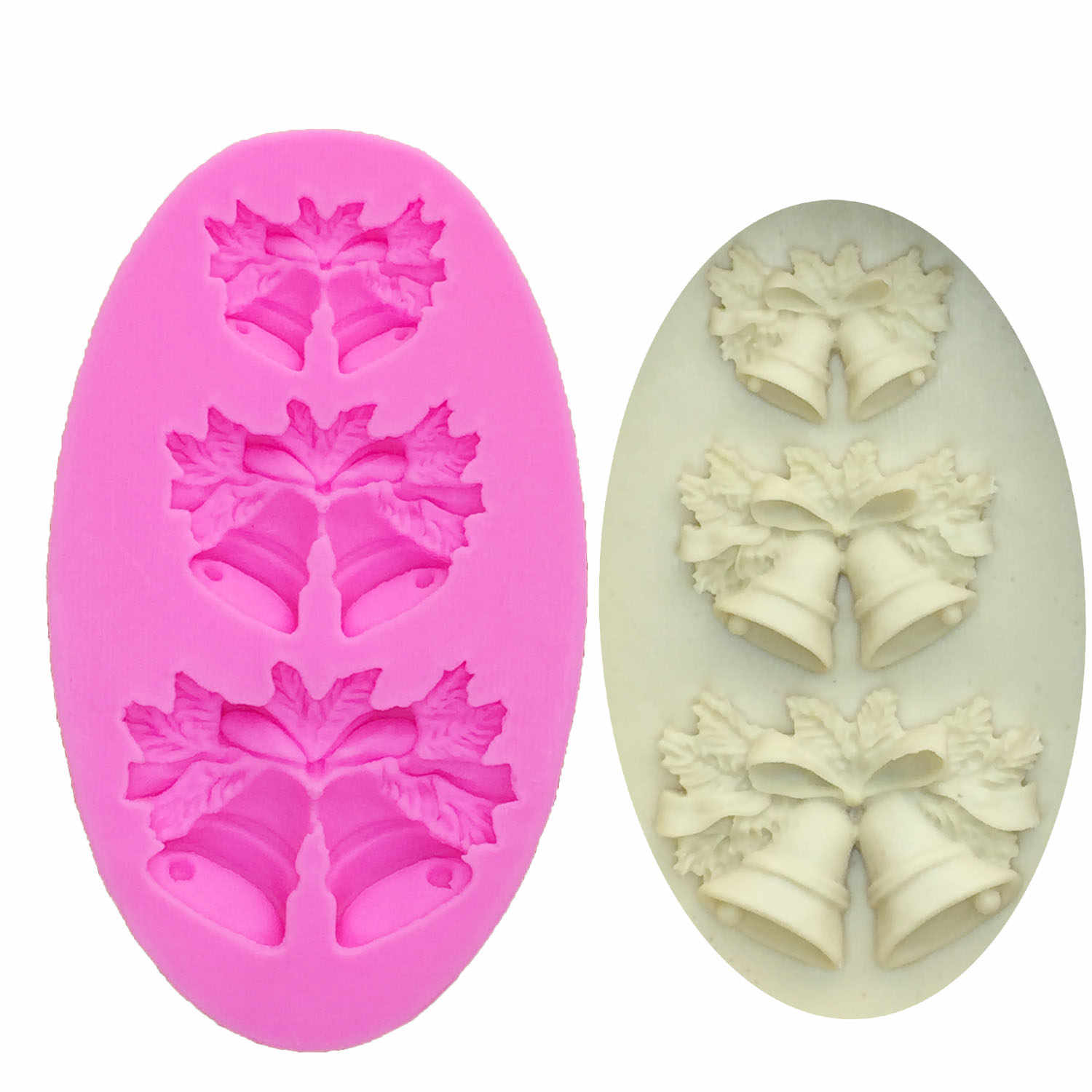 M0469 Silicone molds for cake Christmas dacoration chocolate mould christmas bells salt sculpture mold
