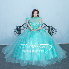 100%real luxury light lake blue flower embroidery beading princess ball gown medieval dress/victoria belle ball