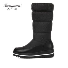 hot deal buy fanyuan winter warm down women waterproof shoes snow boots ladies fashion knee high boots woman black casual thigh high boots
