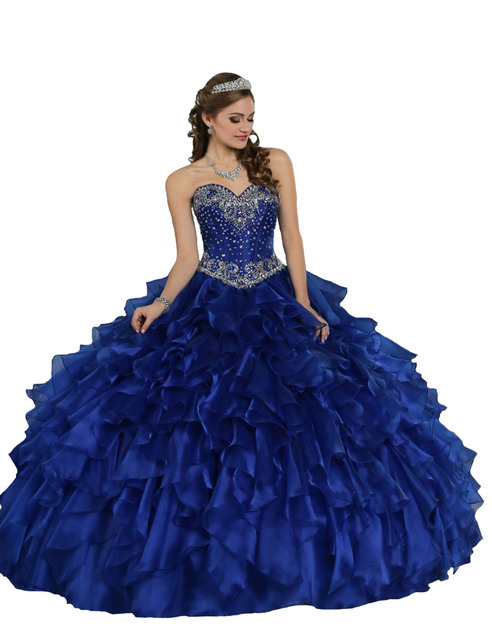 d3a858daea3 Elegant Royal Blue Princess Debutante Ball Gowns Ruffle Beaded Sweet 16  Dresses Cheap Quinceanera Dresses 2016 Custom Made