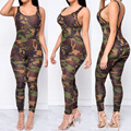 2017 Sexy Camuflagem Macacão Romper Bodysuit Mulheres Macacão Sem Encosto Impressão de Fitness Fino Bodysuit Macacão Bodycon Macacão Feminino