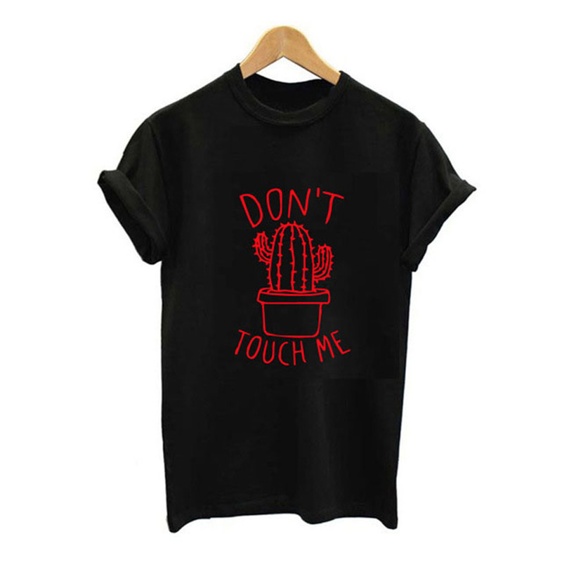 HTB1IV4Ze8WD3KVjSZFsq6AqkpXaF - S-XXL DON'T TOUGH ME Cactus T shirt Women Casual Summer Tshirts Cotton Femme tops & tees Vintage Black White Red T-shirt Women