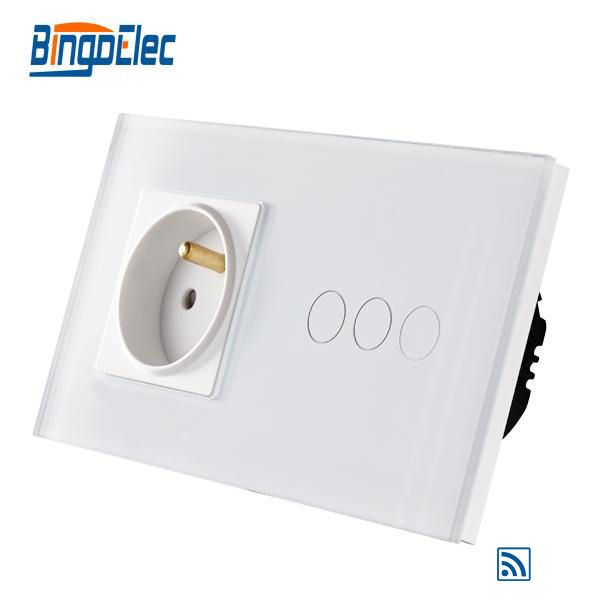 EU standard 3gang 1way remote wall switch and French wall socket livolo remote switch with crystal glass panel wall light remote touch led indicator 3gang 1 way vl c503r 11 12 without remote