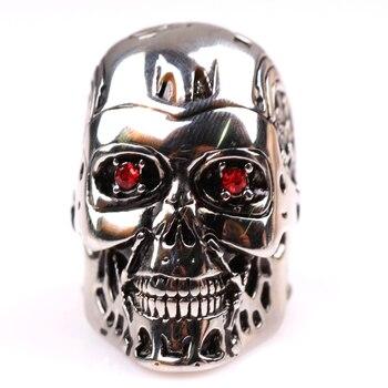 Terminator cráneo anillo de cristal rojo ojos del cráneo anillo hombres locomotora estilo Punk Accesorios 4