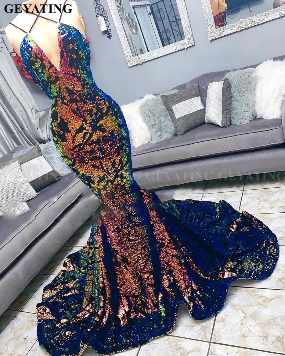 Colorful Sequin Velvet Mermaid Black Girls   Prom     Dresses   2019 Sexy V-Neck Court Train Plus Size African Evening Party   Dress   Long