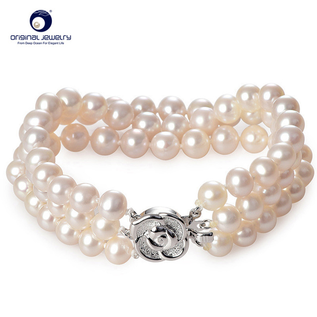 [YS] Fine Jewelry 6-7mm Genuine Natural Freshwater Cultured Pearl Charm Bracelets Triple Row Hand Ring Free Shipping