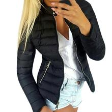 Wholesale Winter Stand Collar Long Sleeve Wadded Jacket Solid Color Women Zip Up Coat