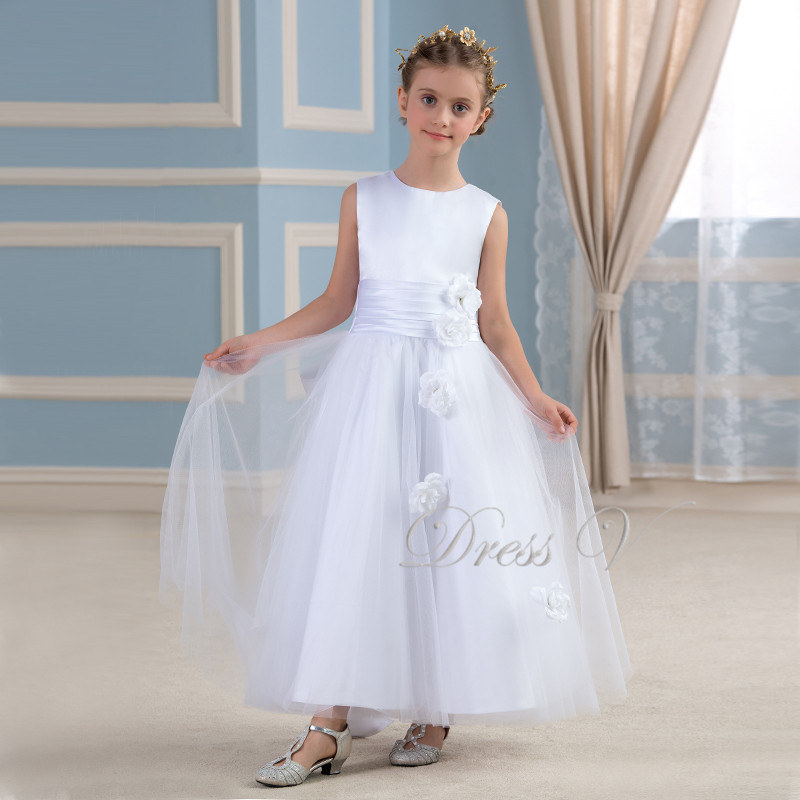 5e0a76a6d5a8 Lovely White Puffy Tulle Flower Girl Dresses Floor Length Children First  Communion Girls Pageant Graduation Kids Party Gowns