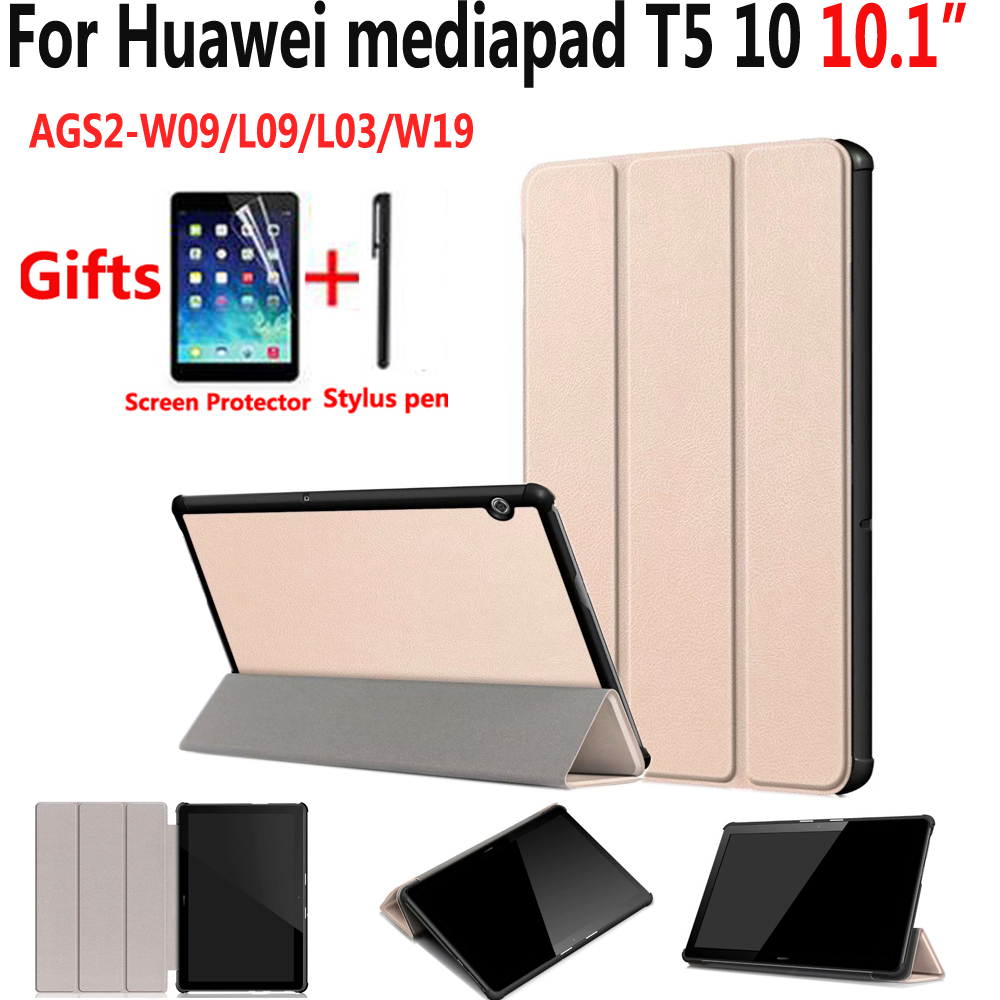 High Quality Pu Leather Case For Huawei Mediapad T5 10 10.1 AGS2-W09/L09/L03/W19 Cover Fold Stand Case For Huawei Mediapad T5 10