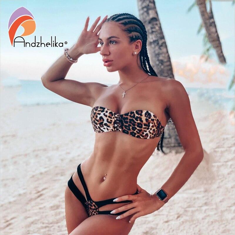 Andzhelika Sexy Leopard Bandeau Bikinis Women 2019 Bandage Bikini Set  Swimsuit Brazilian Beach Bathing Suit Swimwear Biquini