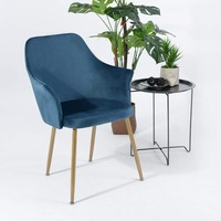 EGGREE Modern Soft Velvet Chair Dining Armchair Armchair Upholstered Back and Cushion, Metal Legs in Spray Gold Finish, Blue