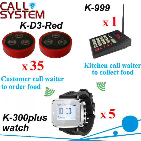 Digital waiter call bell system 35 table transmitter W 5 watch for waitress and 1 keypad for kitchen use wireless service call bell system popular in restaurant ce passed 433 92mhz full equipment watch pager 1 watch 7 call button