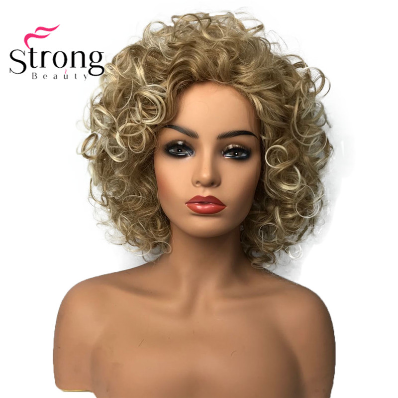 StrongBeauty Shotr Curly Natural Fluffy Hairstyles Hair Capless Wigs Women's Synthetic Hair Wig