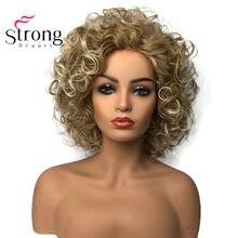 Strongbeauty perucas de cabelo sintético, perucas de cabelo encaracolado, natural, fofo, sem cavidade