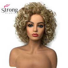 StrongBeauty Shotr מתולתל טבעי פלאפי תסרוקות שיער בלי כומתה פאות נשים של סינטטי שיער פאה