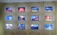 Free Shipping Led Hanging Crystal Light Box Panel,Acrylic A4 Display Window Real Estate Advertising 12PCS/LOT