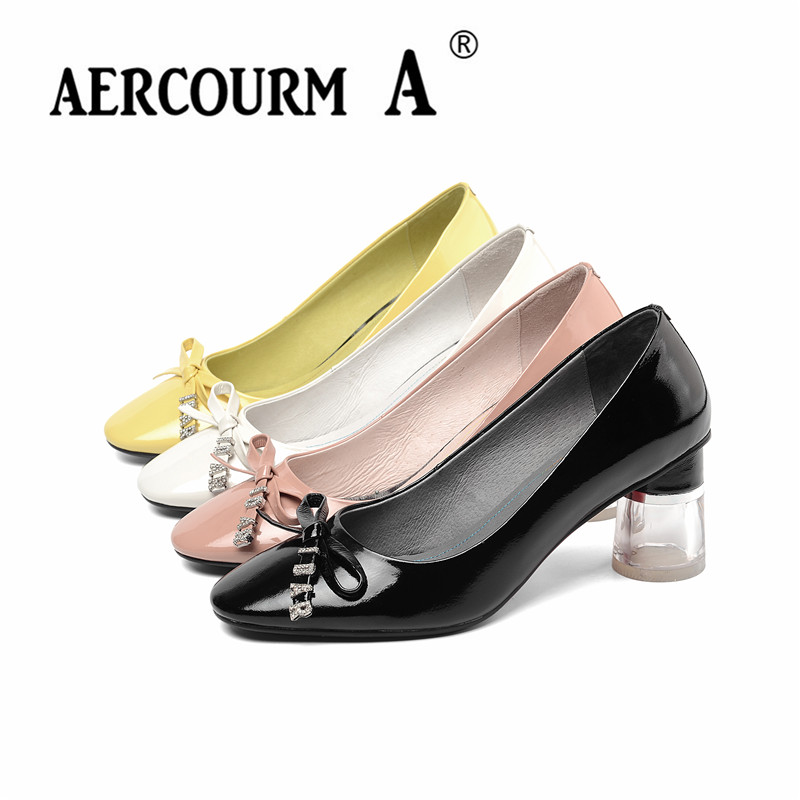 Aercourm A 2019 Women Solid Color Pumps Lady Cow Genuine Leather Shoes Square Round High Heel Pumps New Spring Bow-knot ShoesAercourm A 2019 Women Solid Color Pumps Lady Cow Genuine Leather Shoes Square Round High Heel Pumps New Spring Bow-knot Shoes