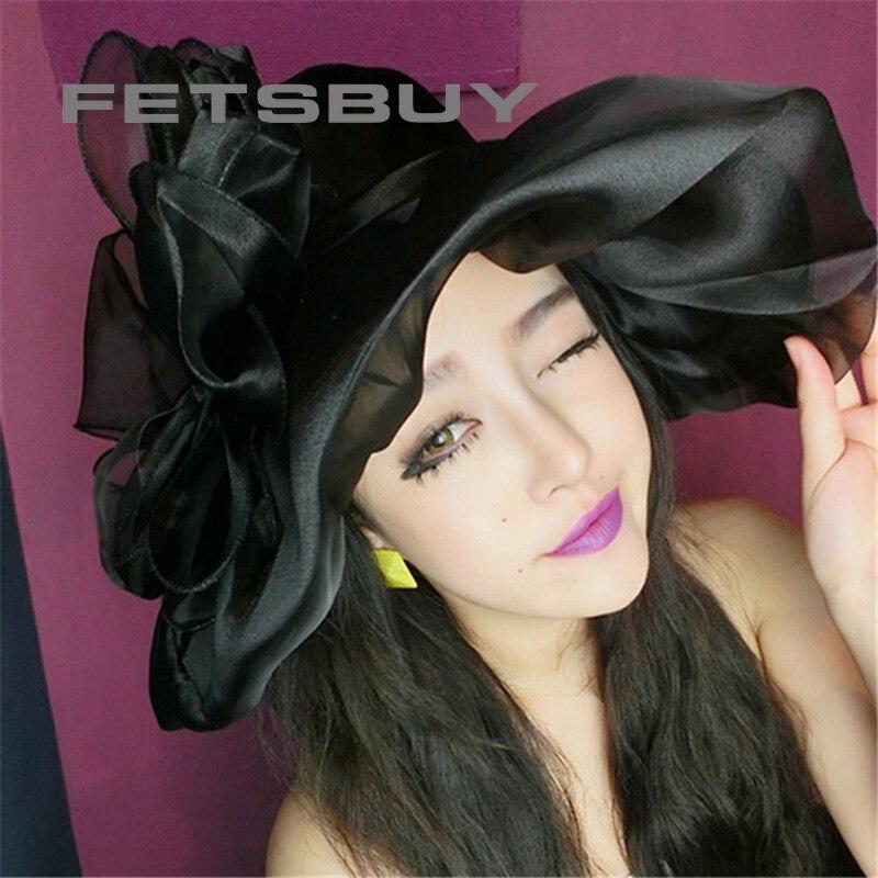 FETSBUY Elegant Fashion Church Hats For Women Flower Hat Women's Summer Gorras Sun Hat Wedding Kentucky Derby Wide Sea Beach