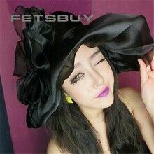 FETSBUY Элегантной Моды Церковные Шляпы Для Женщин Цветок Hat Лета женщин Gorras Вс Hat Свадьбы Кентукки Дерби Широкими Море пляж