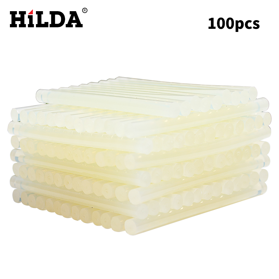HILDA 100Pcs/Set 7mm X 100mm Hot Melt Glue Sticks For Electric Glue Gun Craft Album Repair Tools For  Accessories Set Kits