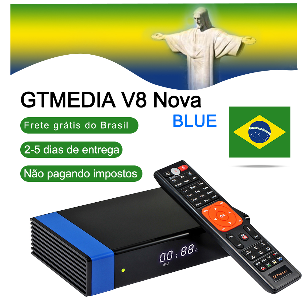 GT Media V8 Nova Blue DVB-S2 Satellite TV Receiver H.265 Built-in WIFI+1 Year Clines Europe Spain CCcam PK Freesat V7 TV HD Box