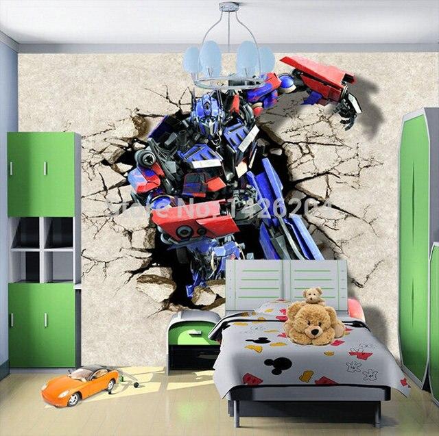 Besar dinding 3d transformer kartun foto kertas dinding mural untuk kamar tidur anak anak boys - Transformers tapete ...