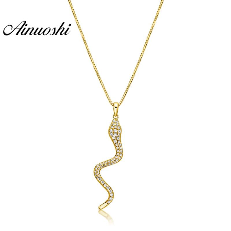AINUOSHI 10K Solid Yellow Gold Pendant Swing Snake Pendant SONA Diamond Women Men Children Jewelry Vivid Animal Separate Pendant цены