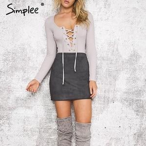 Image 3 - Simplee סתיו בציר עור חצאיות חורף זמש עיפרון חצאית צלב גבוה מותניים רוכסן חצאית פיצול Bodycon מיני נשים חצאיות