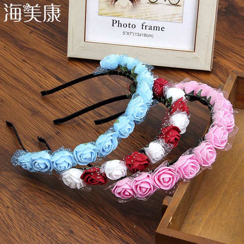 Haimeikang Bezel for Girls Hair Accessories Flower Headband Wreath Headdress Romantic Hairband Red Color Bridal   Headwear