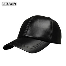 SILOQIN Mens Winter Leather Hat Warm Genuine Baseball Caps For Men Balaclava Snapback Visor Cap Adjustable Size Dad