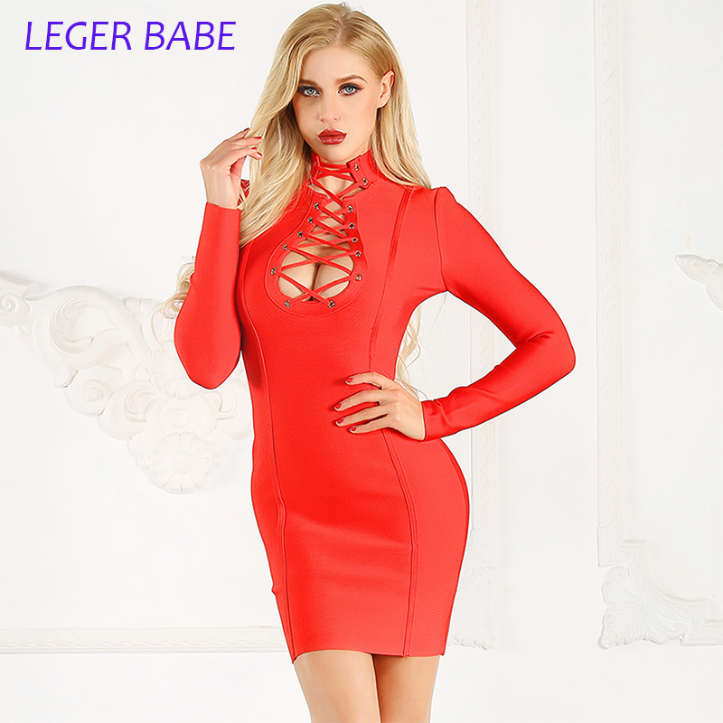 e03aaaad816 jaune Robe Gaine Nylon Crop Longues Automne Pleine Robes rouge Manches  Solide Bandage V Party Noir ...
