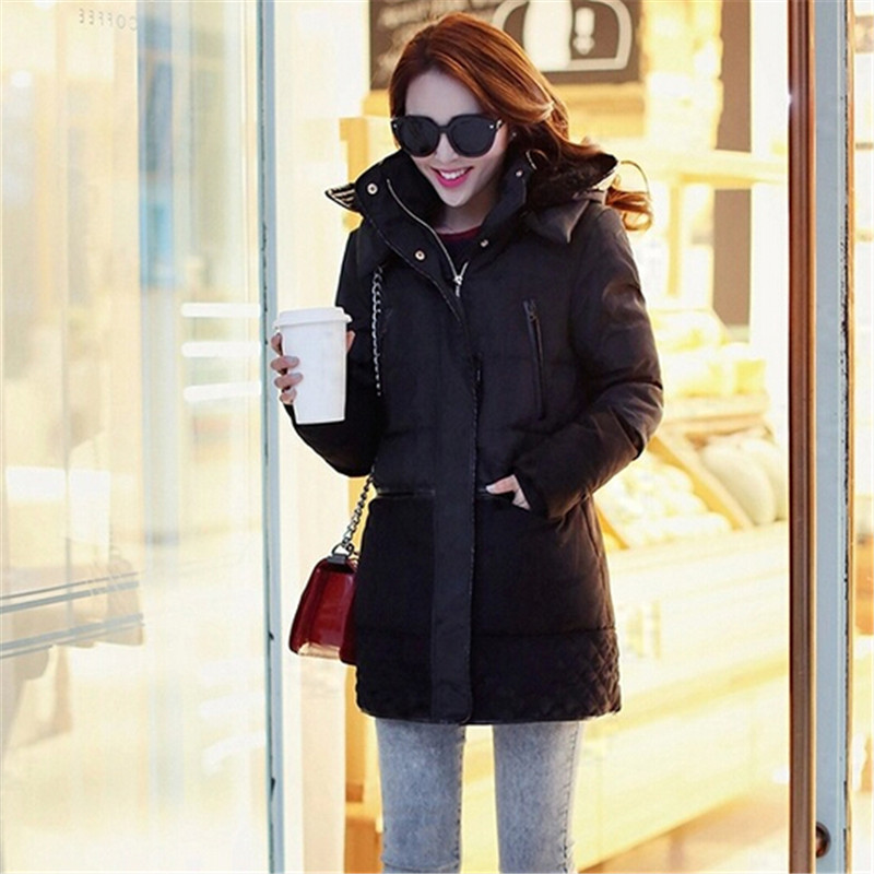 Winter Jacket Women Fashion New Padded Cotton Jacket Female Loose Hooded Women's Down Wadded Coat Casual Lambs Wool Parka C1225