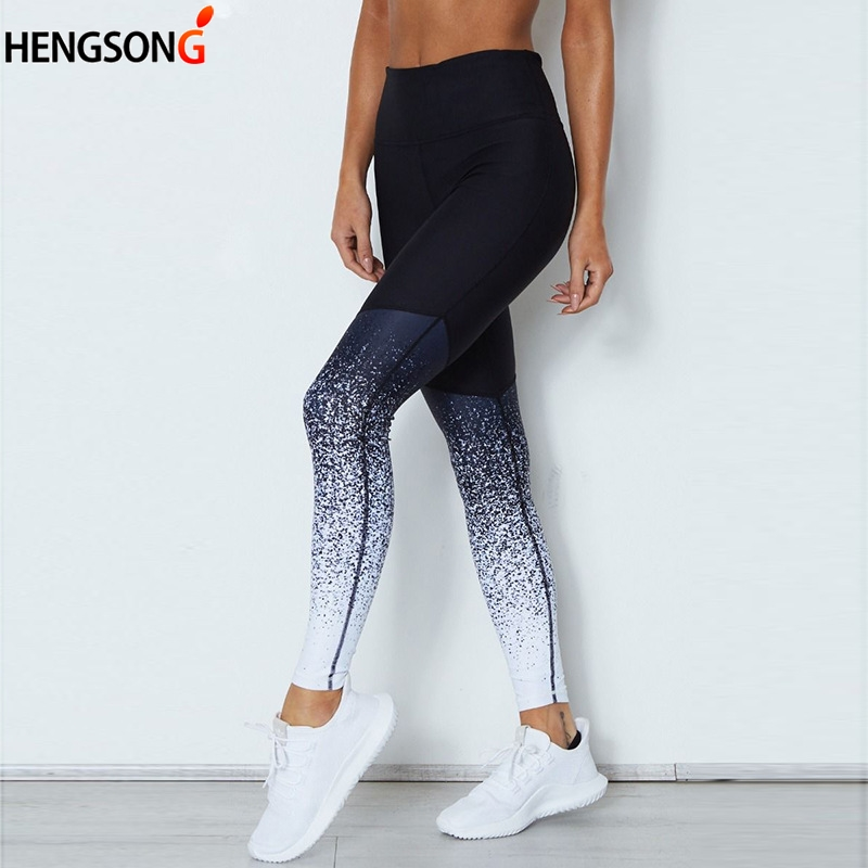 Trouser Pant Leggings Exercise Women Workout Elastic-Band Push-Up Gradient-Color title=