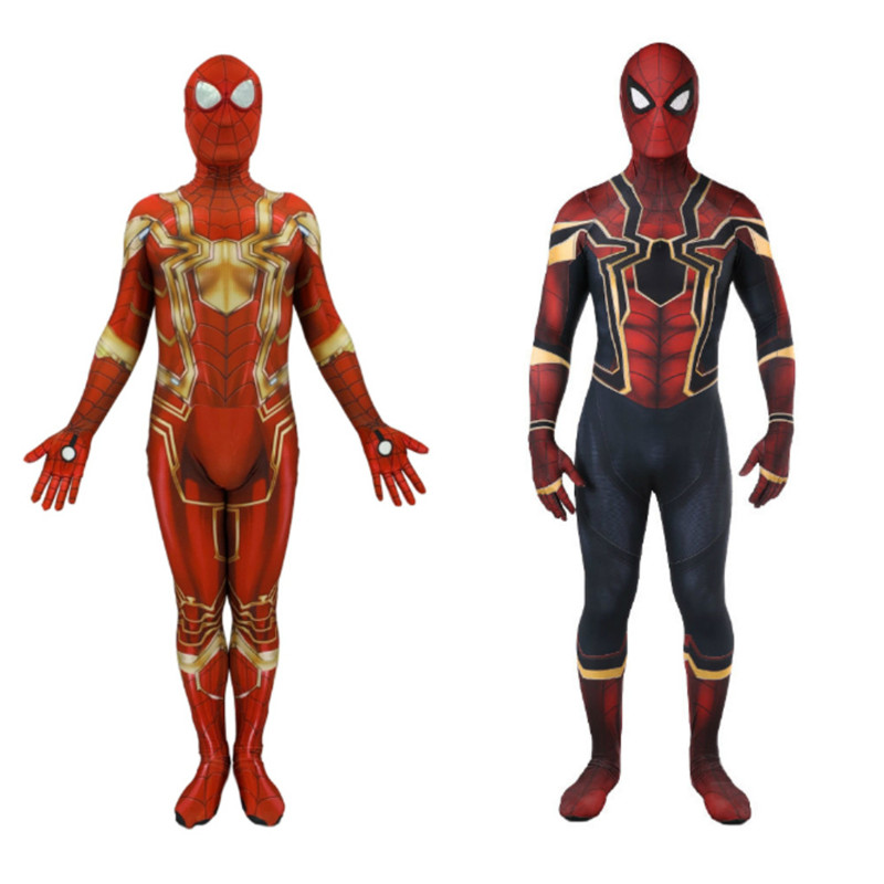 Red Golden Spider Man Costume Adult Kids Spandex Adulto Spiderman Costumes Suit Cosplay Clothes Fantasia Halloween Costumes C105