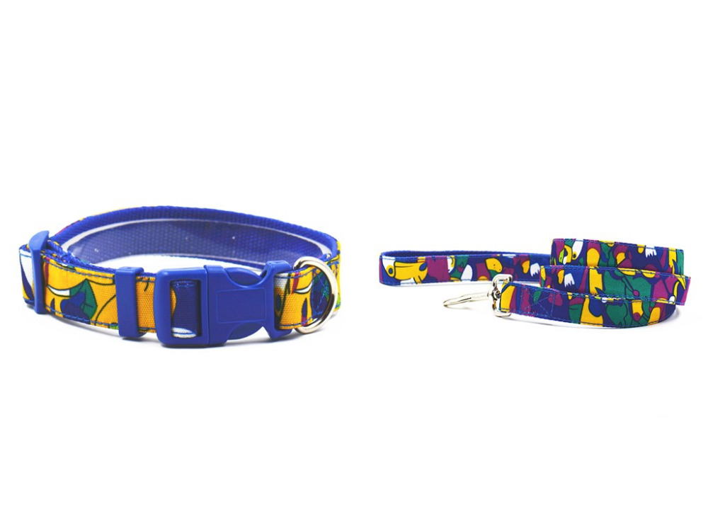 New style cute animal pattern pet dog collar leash nylon material two S L size Strong collar leash for pet collar lead