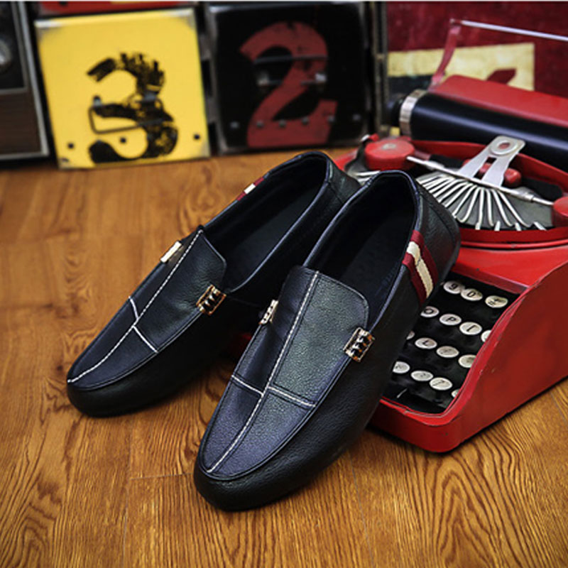 Big Size Male Outer Shoes Genuine Shoes Loafer Leather Splice Design Casual Shoe for men