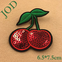 JOD 6.5*7.5cm DIY Cherry Sequin Embroidery Patch Applique Clothing Stickers Iron on Patches for Clothes Decorative Badges Fruit