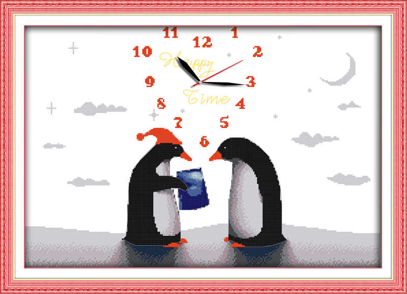 Penguin's love cross stitch kit 14ct 11ct count print canvas wall clock stitching embroidery DIY handmade needlework