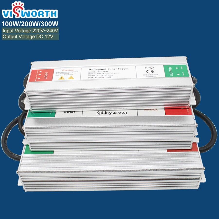 110v 220v 240v to 12V DC transformer 100W 200W 300W LED driver waterproof outdoor IP67 1pcs lot sh b17 50w 220v to 110v 110v to 220v