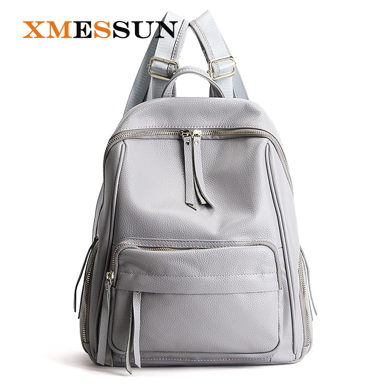 2018 Fashion Designer 100 Cow Genuine Leather Women Backpack Zipper School Bags For Teenagers Girls Female
