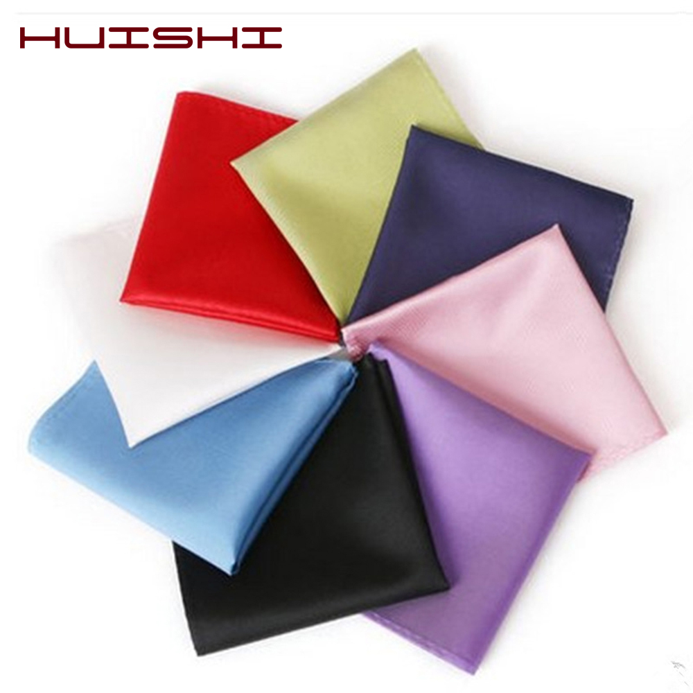 HUISHI Hot Sale Men's Satin Polyestery Solid Plain Suits Pocket Squares Party Handkerchief Accessories Wedding Business
