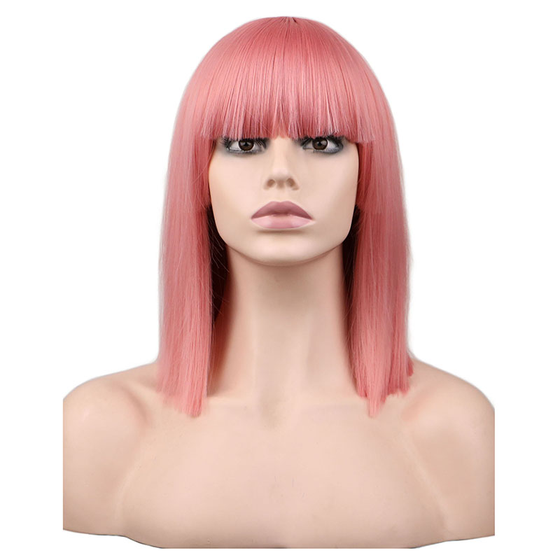 QQXCAIW Cosplay Wig Short Synthetic-Hair-Wigs Party-Costume Blonde Fiber Pink Blue Straight