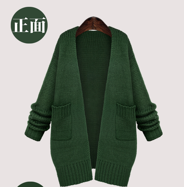776 XL-3XL Thick Loose Long Oversized Knit Cardigan Autumn Winter women  long-sleeve Casual Sweater Plus Size European Style ce922778d