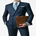 Chalk Stripe Men Suit Custom Made Navy Blue Mens Striped Suit,Tailored Double Breasted Men Suits With Ticket Pocket