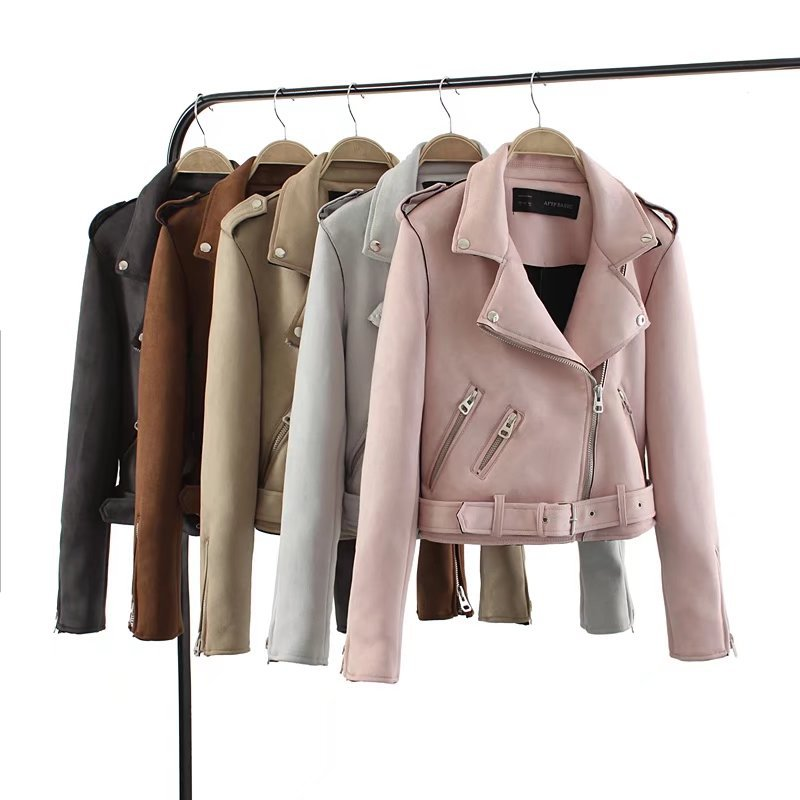 2017 Autumn Women Multicolor   Suede   Zipper Moto   Leather   Jacket Ladies High Street Lapel Collar Long Sleeve Locomotive Style Coat