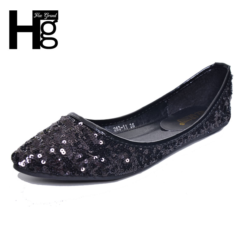 HEE GRAND 2017 New Women Bling Flats Shallow Party Pointed Toe Flat Shoes Woman Size 35-41 XWD5650 gold sliver shoes woman for 2016 new spring glitter bling pointed toe flats women shoes for summer size plus 35 40 xwd1841
