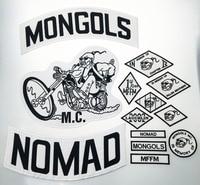 Top Kwaliteit MONGOLEN NOMAD MC Biker Vest Geborduurde Patch Iron op Volledige Terug van Jacket Motorcyle Biker Patch G0433 Gratis verzending